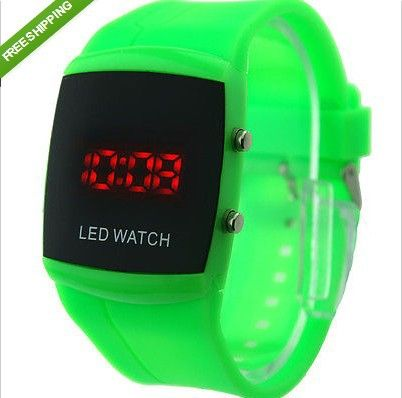 LED Silicone Rubber Band Digital Watch New Fashion Color Storm Men women Mirror $8.99