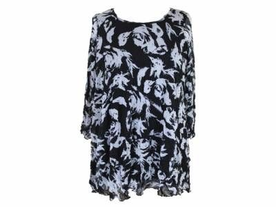 Last Call Clearance - Comfy USAMesh over Crinkle Knit Tunic--Black & White (S, XL)