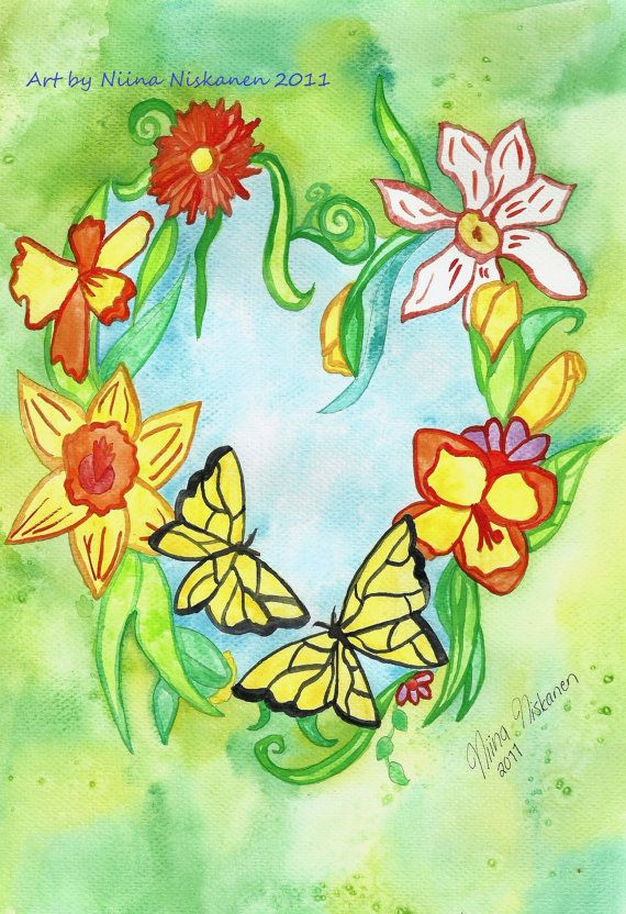 Spring Heart Postcard Flowers Butterflies Nature Mother Earth Fantasy Stationary Watercolor Flower Illustration Postcard