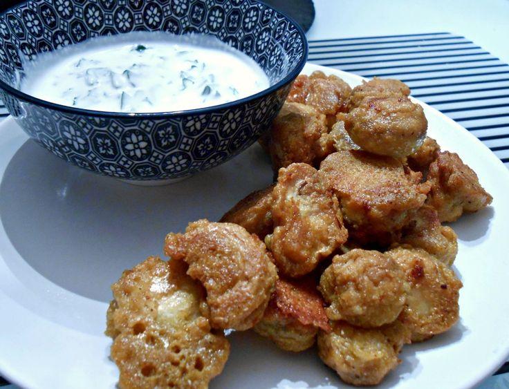 Mushroom Pakoras with Vegan Raita
