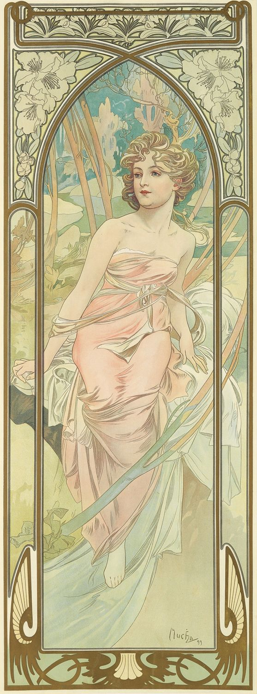 'Eveil du Matin' (Morning Awakening) from the Times of Day series. (1889) - Alphonse Mucha (1860-1939)