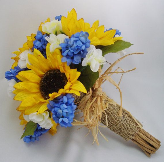 Sunflower and Muscari Bridal Bouquet, Made to Order Silk Flowers, Wedding Flowers for the Bride, Something Blue
