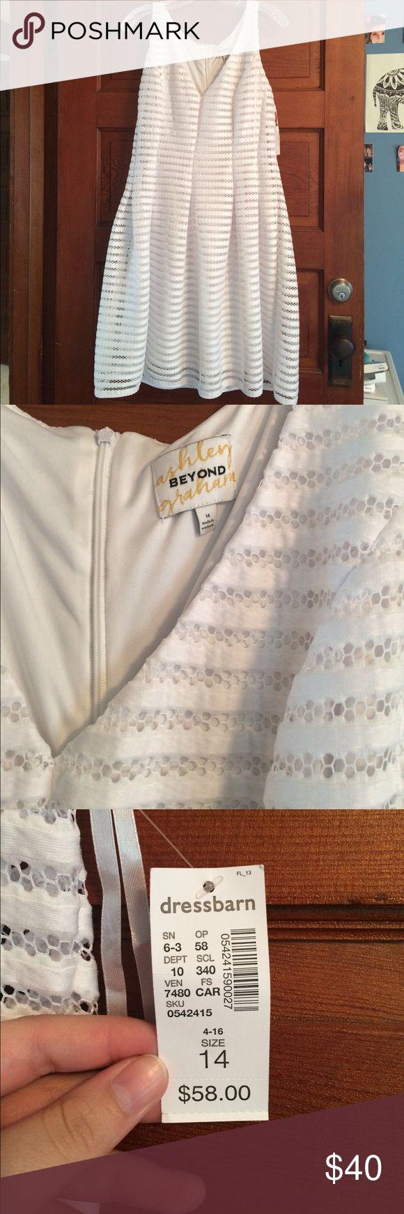 Ashley Graham White Dress White dress. Never worn! Still has tags. No stains. Ashley Graham Dresses Midi