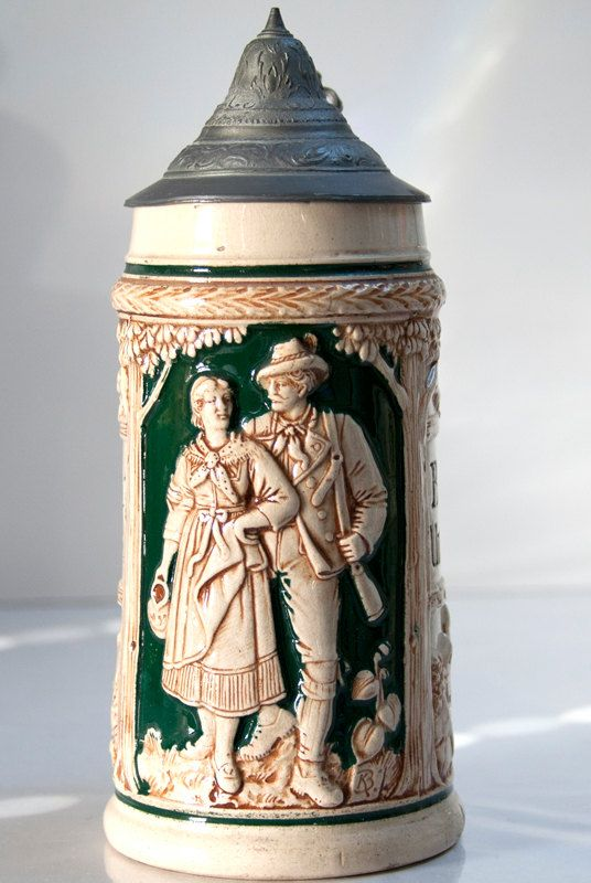 Antique German Beer Stein with Pewter Lid by VictoriasEstate, $125.00