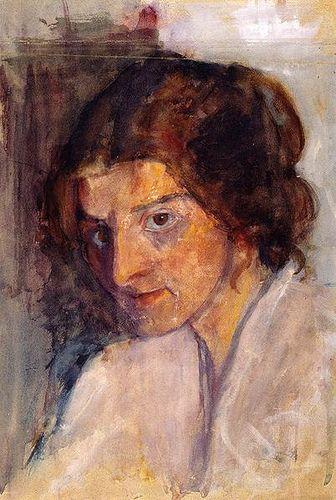 Mondersohn-Becker, Paula (1876-1907) - 1897c. Self-Portrait Looking Left (Paula Modersohn-Becker Foundation, Bremen, Germany) Gouache; 42 x 32 cm.