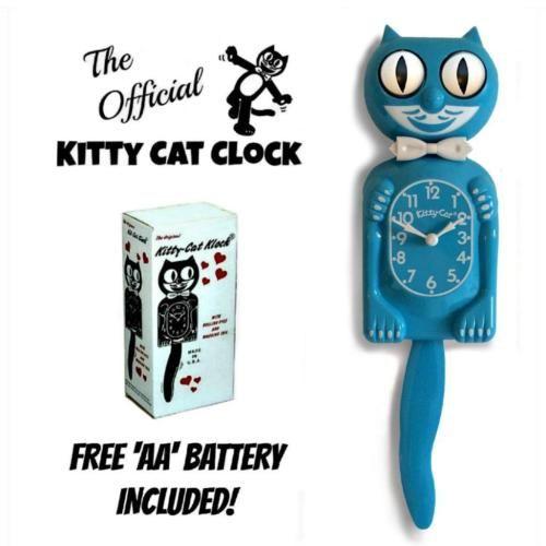 """SCUBA BLUE KITTY CAT CLOCK (3/4 Size) 12.75"""" Free Battery MADE IN USA Kit Kat - http://scuba.megainfohouse.com/scuba-blue-kitty-cat-clock-34-size-12-75-free-battery-made-in-usa-kit-kat/"""