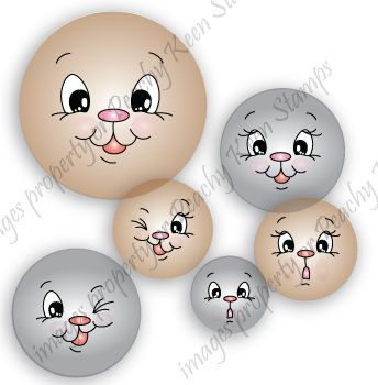 PK-440 Cute and Cuddly Face Assortment: Peachy Keen Stamps | Home of the original clear, peach-tinted, high-quality whimsical face stamps.