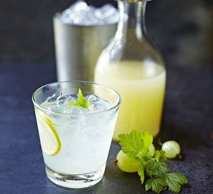 Gooseberry & mint lemonade. Make your own concentrated fruit cordial to serve with sparkling water over lots of ice
