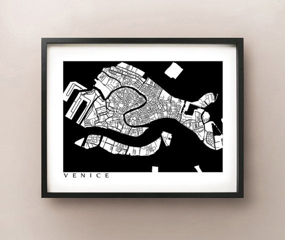 Black and White Venice, Italy Poster by CartoCreative #venice #italy #map
