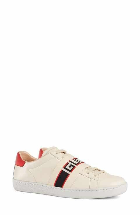 pretty nice 17643 611ad Gucci New Ace Logo Strap Sneaker (Women)