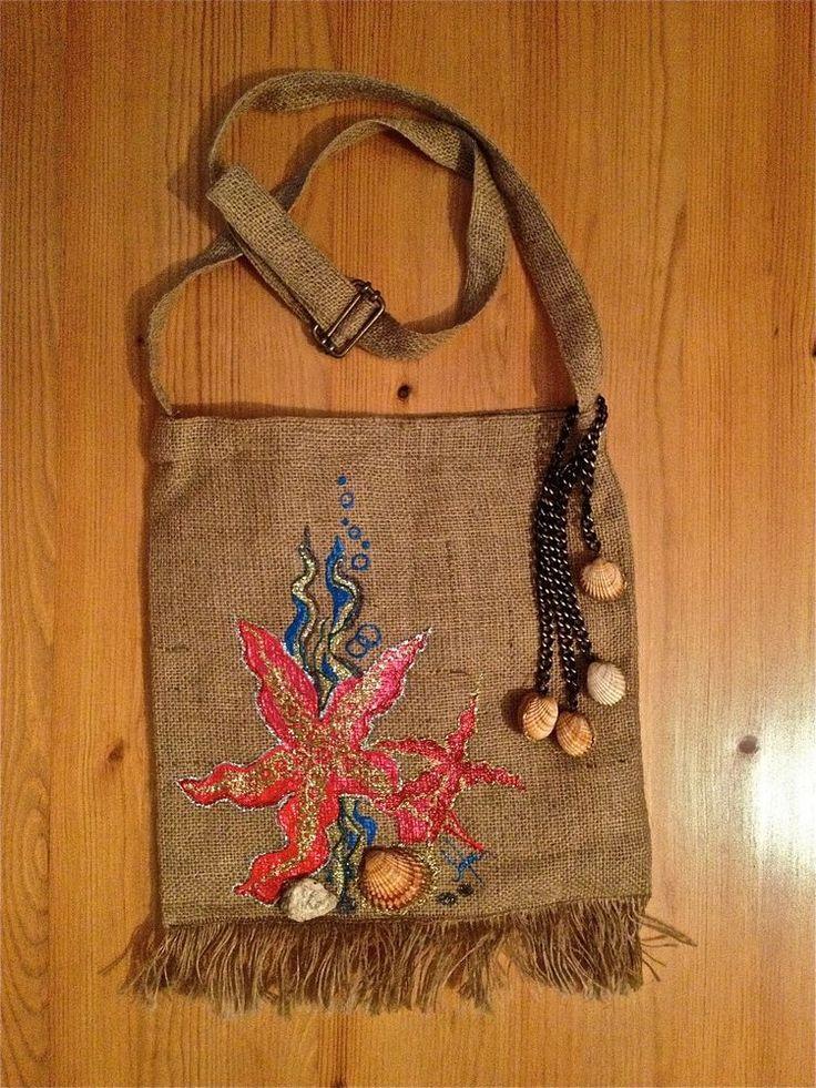 Borsa Bag Donna Marrone In Tessuto Naturale Stella Maris