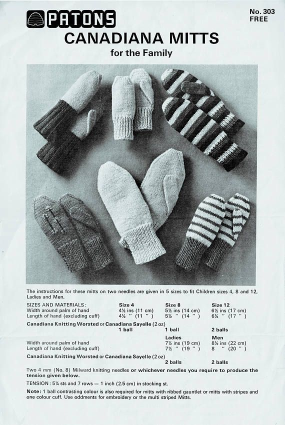 PDF 1960s  Canadiana Mitts & Gloves Knitting Pattern Patons