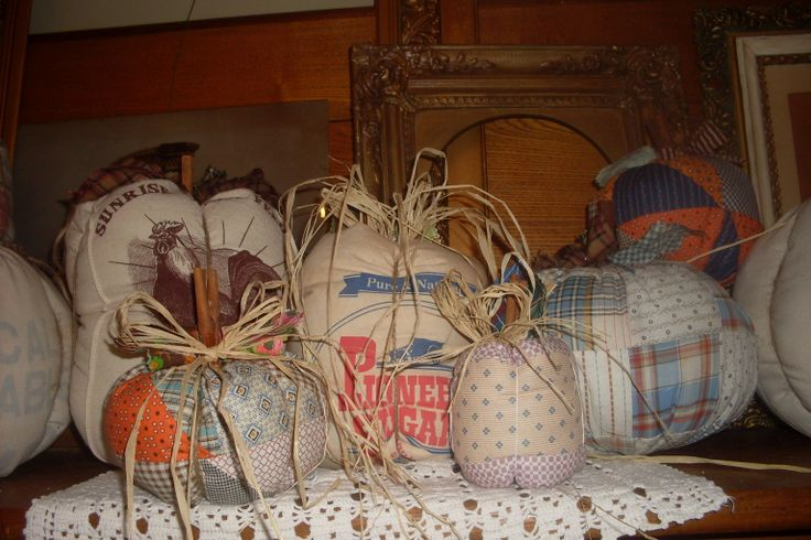 cute feed sack and vintage fabric pumpkins. Made by Feed ...