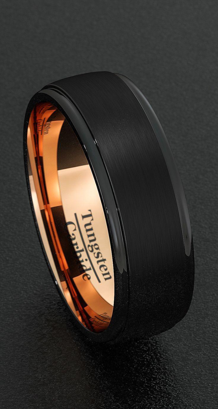 Mens Wedding Bands 8mm Tungsten Rings Black Brushed Step Edge Rose Gold Inner Comfort Fit.