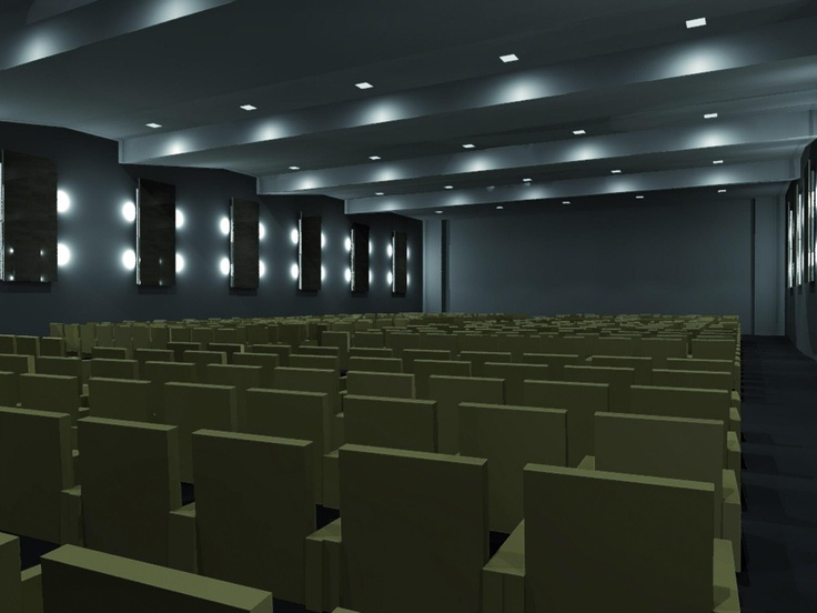 Rendering of a lighting design project. Conference hall.