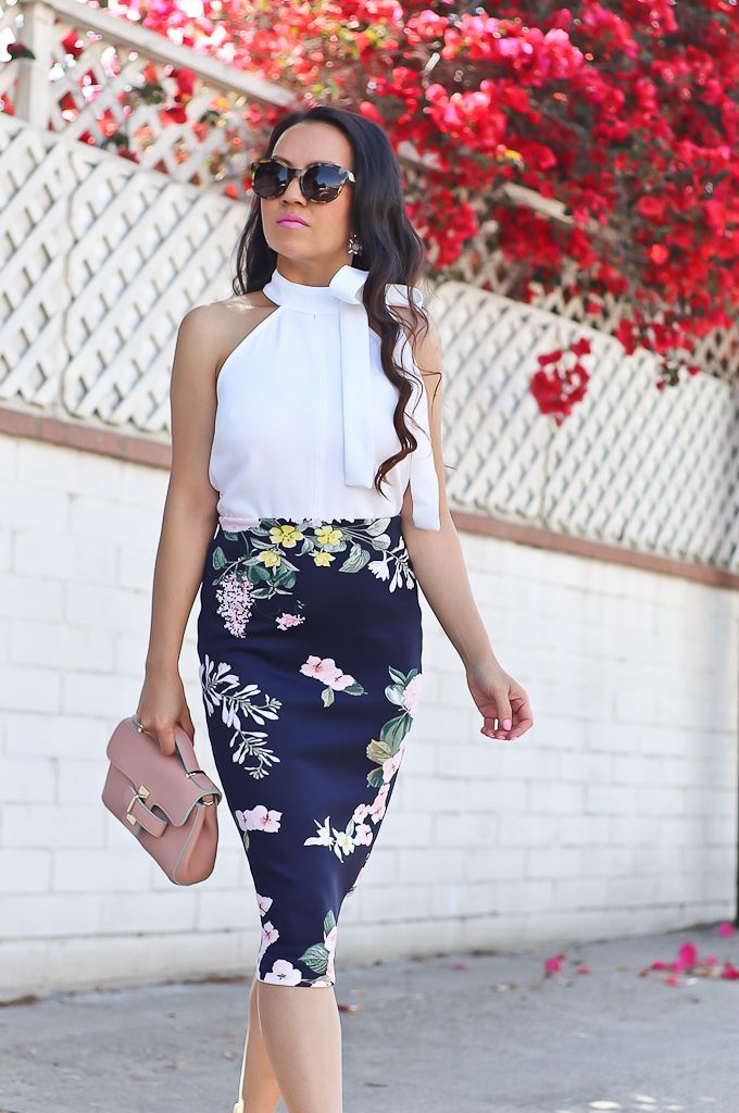 3ea0da0fad BP. luminate blush sandals, Loop lock mini bag, Navy floral pencil skirt,  New york and company petites, Sophie tie neck halter blouse, Sugarfix  moonstone ...