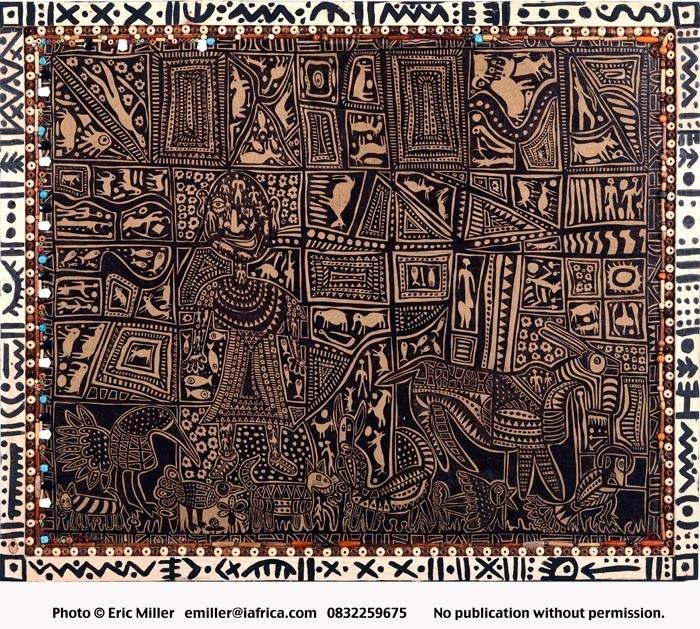 Painting, acrylic and ink on canvas - Indigenous artwork of the Bushmen - Samuel Damons