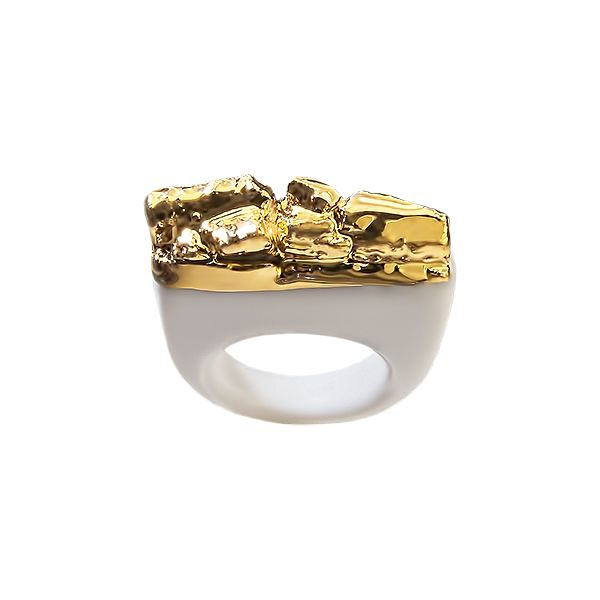 """Spring edition of rings """"When"""" is about chaos and chance, about a struggle that we fight with ourselves. That is our vision and also a description of the manufacturing of the rings. Rings are created on the basis of play with the material and consequently decorated with platinum and gold.   2014 by Zuzana Holaňová"""