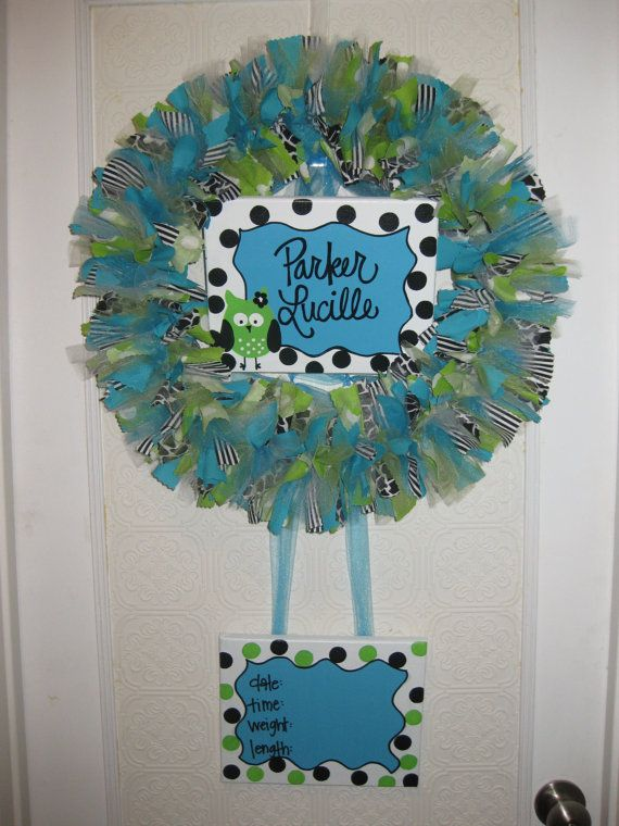 Custom boutique baby wreaths birth announcements and for Baby boy hospital door decoration