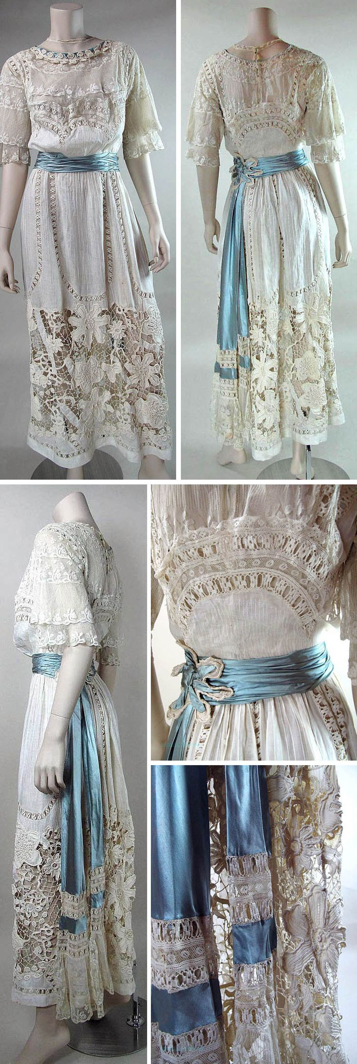 "Cotton gauze upper skirt panel with pintucks & crocheted inserts above Irish crochet skirt. Irish crochet with tambour stitch bridges w/picots, flowers, & open-work ""ladders."" Bodice has many layers of tulle including complete inner bodice exposed on top to form neckline & collar. Outer bodice w/blue silk & lace trim, lace inserts, & overlays. Double sleeves of tulle w/lace overlays & pleated blue silk sash w/Irish crochet & silk flower. Marzilli Vintage/Ruby Lane"