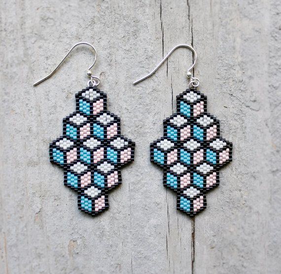 Geometric Light Pink Turquoise Blue and Black by AYAJewelryStudio, $18.00