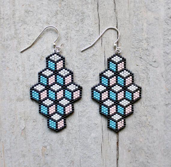 Geometric Light Pink Turquoise Blue and Black by AYAJewelryStudio, $18.00