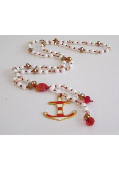 totally summer  handmade rozario necklace with anchor