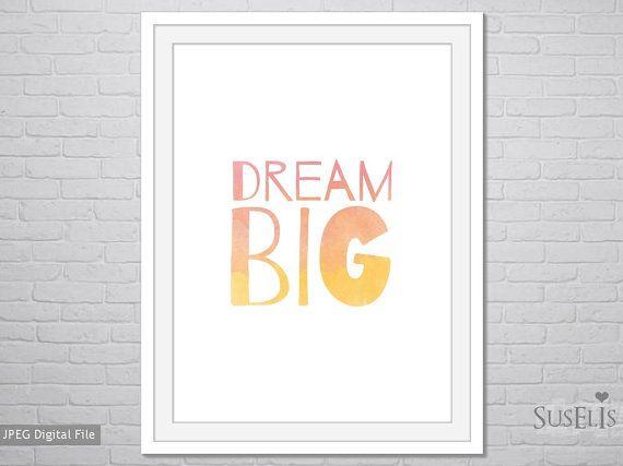 Dream Big wall art Watercolor Print Pink Yellow print by Suselis