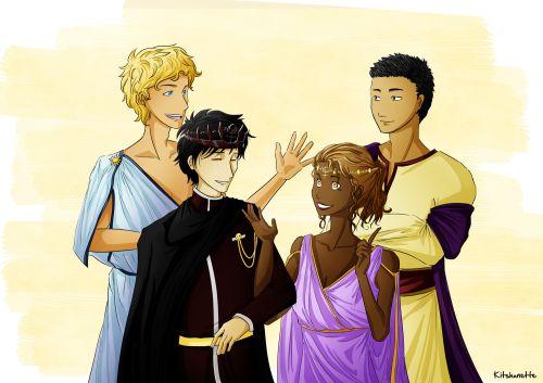 (smol) underworld royalties with their (tol) consorts au | art by kitshunette