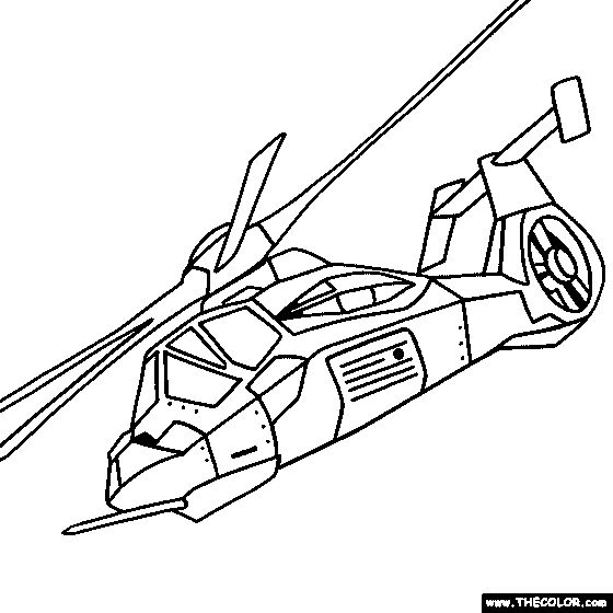 RAH 66 Comanche Helicopter Online Coloring Page