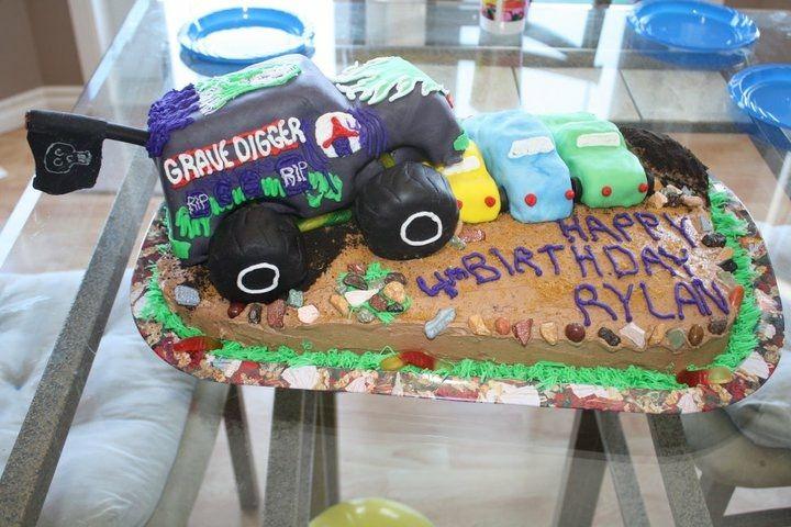 Grave digger birthday cake