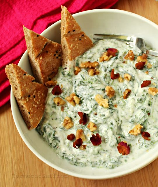 Turmeric and Saffron: Mast Esfenaj - Persian Yogurt and Spinach Dip