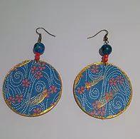collezione Terre D'Oriente-Fiori rossi nel mare blu - orecchini in carta washi su legno