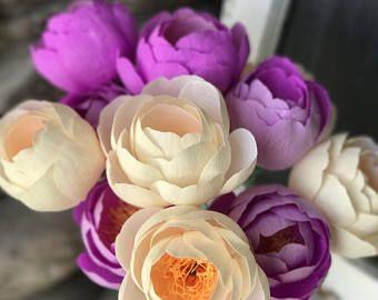 Fiore di carta crespa - Set di 3 corallo fascino peonia - Handmade