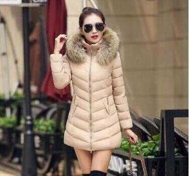Winter Jacket Women 2018 Fashion Women Plus Size Coat Thick Hoody Long Coat Slim Womens Warm Down Parka Jacket khaki XL 2