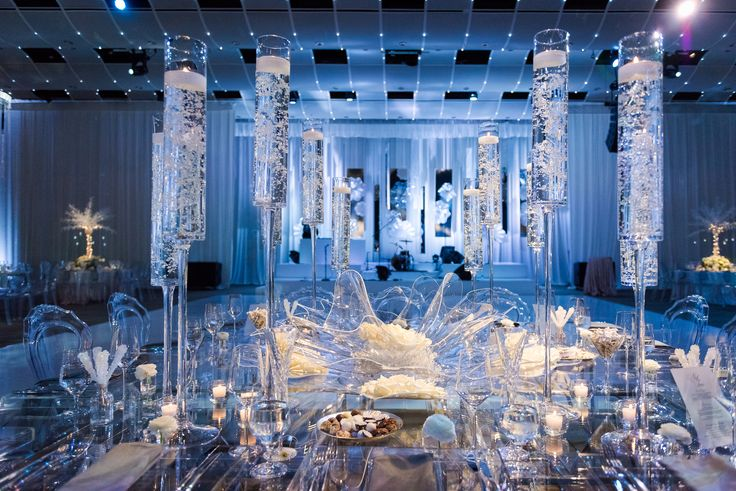 DesignWorks - Denver, CO  |  Design Works  |  Jared Wilson Photography  |  Seawell Ballroom  |  Head Table  |  plexiglass table, square table, clear table, clear flower, plexiglass flower, champagne floating candle, monet glass, acrylic chair, acrylic table