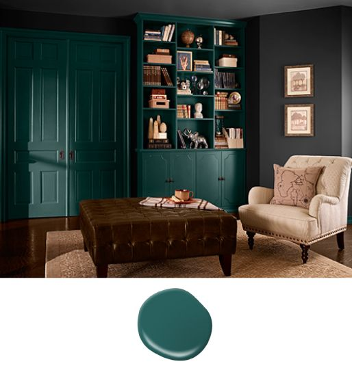 color of the month hunter green media room design on green office paint color id=82173