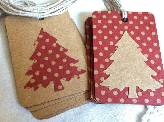 Country red brown kraft paper Christmas tags polka dots