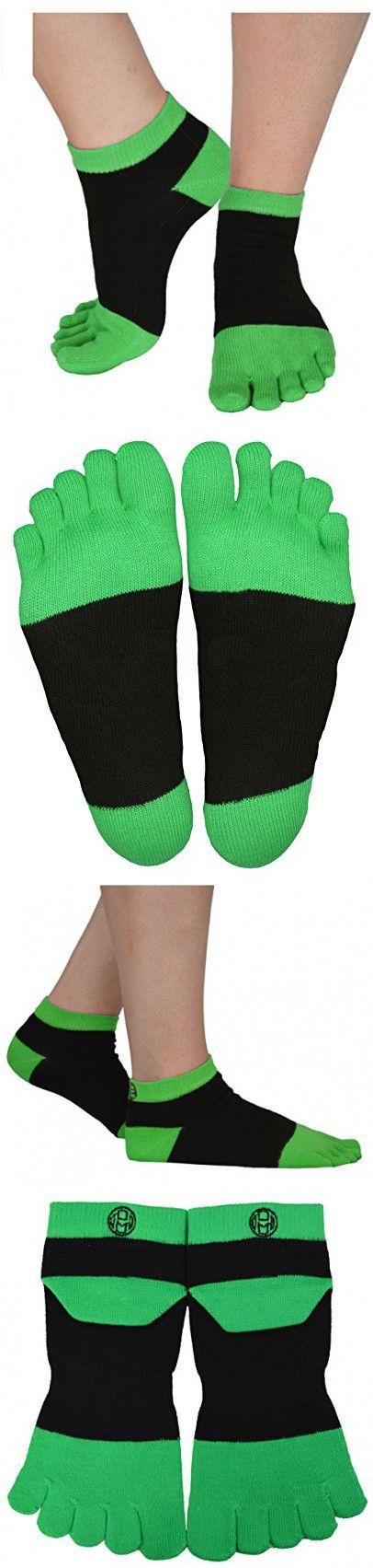 Mato & Hash 5 Toe Active Athletic Performance Sport Toe Socks 6PK Black/Bright Green S/M