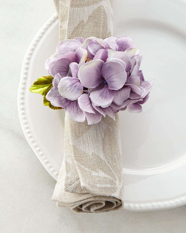 Spring Hydrangea Napkin Ring, Purple - Deborah Rhodes