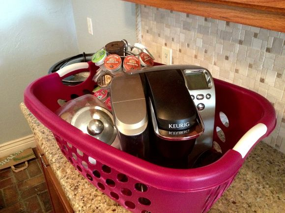 Put things like the coffee maker in a dirty clothes basket-- things you'll need right away!