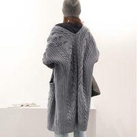 ASYMSAY Осенне-Зимней Моды Длинные Вязание Пальто Утолщение Свитер Женщины Серый Синий Сплошной Цвет Свободные Пальто