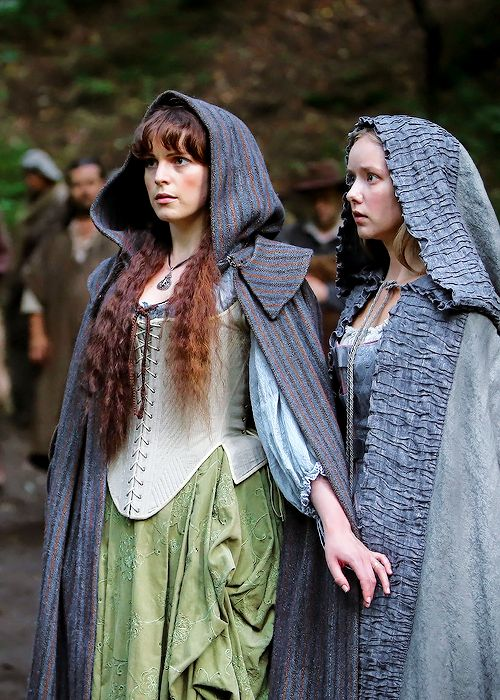 Constance Bonacieux and Queen Anne - Tamla Kari and Alexandra Dowling in The Musketeers, set in the 1630s (BBC TV series 2014-).