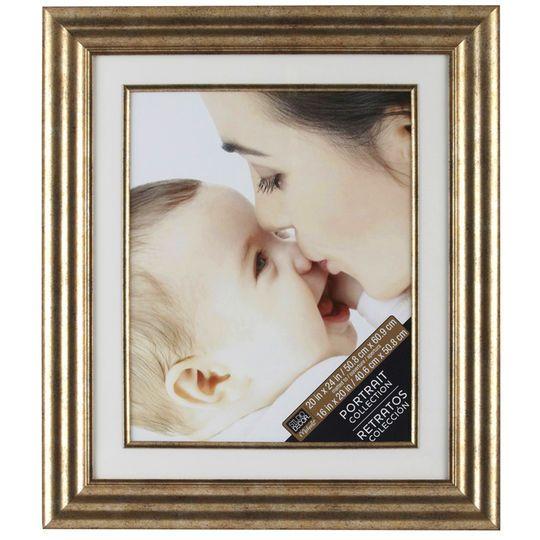 "Champagne Portrait Frame with Mat by Studio Décor, 16"" x 20"""