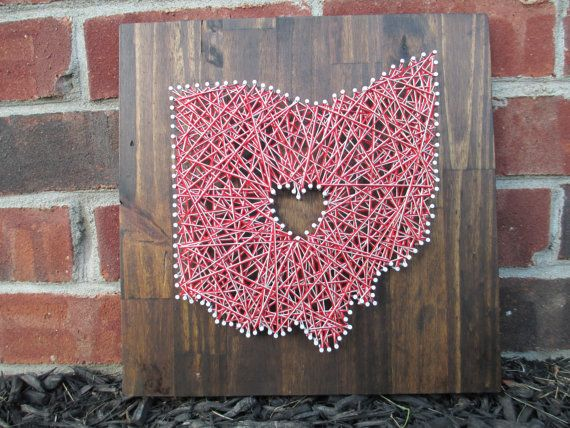 String Art State, Any State, Ohio State Buckeyes, Home is Where the Heart Is, Nail and String Art, 2 Colors on Etsy, $50.00
