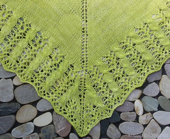 Hand knitted luscious lacy shawl knitted in yarn by KristinMadeIt
