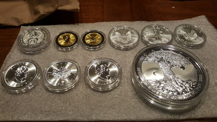 2 × 1/2oz royal canadian mint gold coins 3 x 1oz silver eagle coins 3 x 1oz silver royal canadian mint coins 1 x 10oz tree of life 1 × 1oz queen's beast griffin