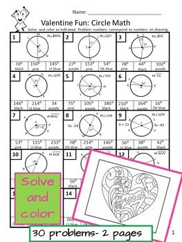 Valentine Color By Number Circle Geometry Arcs Central And