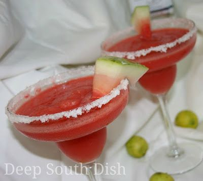 Frozen Watermelon (or Strawberry) Margaritas - Frozen chunks of watermelon stand in for ice cubes for this delightful frozen watermelon margarita. For a strawberry margarita, swap out the watermelon for frozen strawberries.
