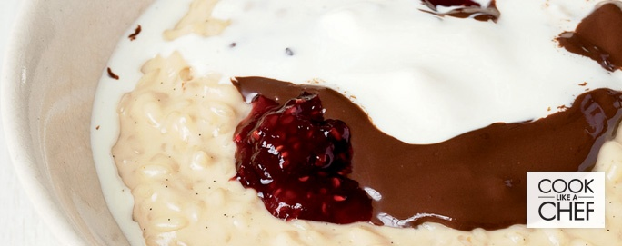 Vanilla Rice Pudding with Strawberry Jam & Dark Chocolate | Desserts & Baking | Recipes | Woolworths.co.za